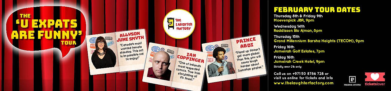 The Laughter Factory: U Expats are Funny Tour starring Allyson June Smyth, Ian Coppinger & Prince Abdi - February 2018