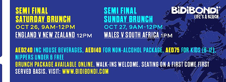 Bidi Bondi 2019 Rugby World Cup Semi-Final Brekky Brunch
